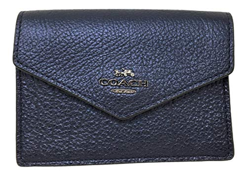 Coach Polished Pebbled Envelope Card Case Metallic Blue F68395