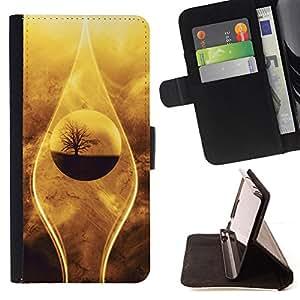 BullDog Case - FOR/Apple Iphone 5C / - / nature beautiful drop tree sand desert oasis /- Monedero de cuero de la PU Llevar cubierta de la caja con el ID Credit Card Slots Flip funda de cuer