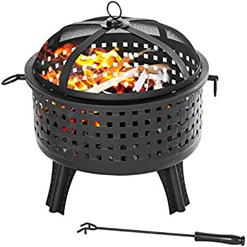 Amazon.com: Merax Fire Pit Outdoor Round 22 Inch Steel ... on Zeny 24 Inch Outdoor Hex Shaped Patio Fire Pit Home Garden Backyard Firepit Bowl Fireplace id=40846