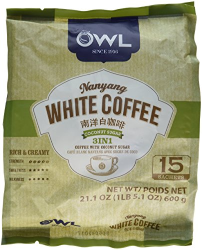21.1oz OWL Nanyang White Coffee with Coconut Sugar 3 in 1 (One bag per order)