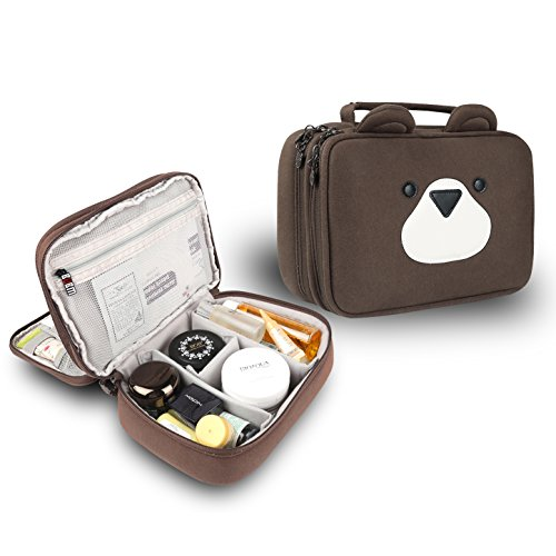 Price comparison product image Electronics Organizer Bag Portable Travel Organizer Case Storage Carrying Bag for Data Cables, Tools, Cards Or Cosmetics, Toiletries, Skincare Products(plush fabric brown)