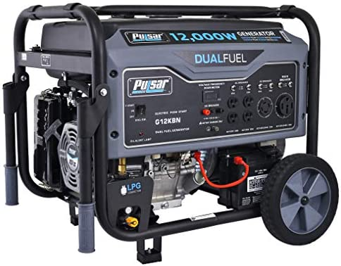 Pulsar G12KBN Heavy Duty Portable Dual Fuel Generator – 9500 Rated Watts 12000 Peak Watts – Gas LPG – Electric Start – Transfer Switch RV Ready – CARB Compliant