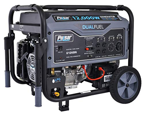 (Pulsar 12,000W Dual Fuel Portable Generator in Space Gray with Electric Start, G12KBN, CARB Approved)
