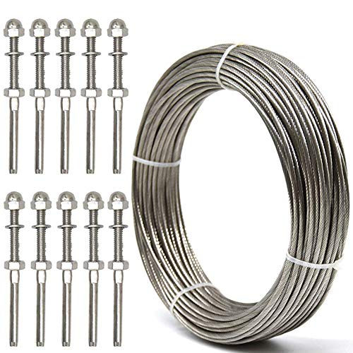 - WELTEK Deck Cable Railing Kit, 10-Pack Threaded Stud Tension End Fitting Terminal & 105 Feet 1/8 Stainless Steel Aircraft Wire Rope - T316 7x7 Marine Grade