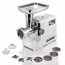 STX INTERNATIONAL Turboforce Model STX-3000-TF Electric Meat Grinder with 3 Speeds, 3 Cutting Blades, 3 Grinding Plates, Kubbe Attachment and Sausage Stuffing Tubes