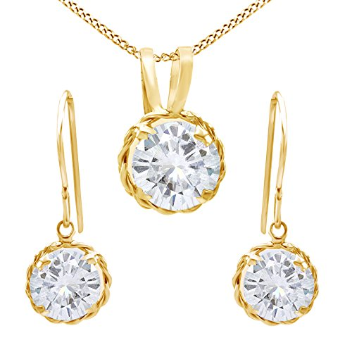 14k Solid Yellow Gold Round Cut Genuine Moissanite Pendant Necklace and Earrings Jewelry Set (3.00 (14k Solid Jewelry Set)