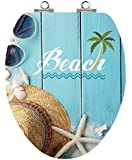 TOPSEAT Art of Acryl Elongated Wood Toilet Seat with Slow Close Chromed Metal Hinges, Beach