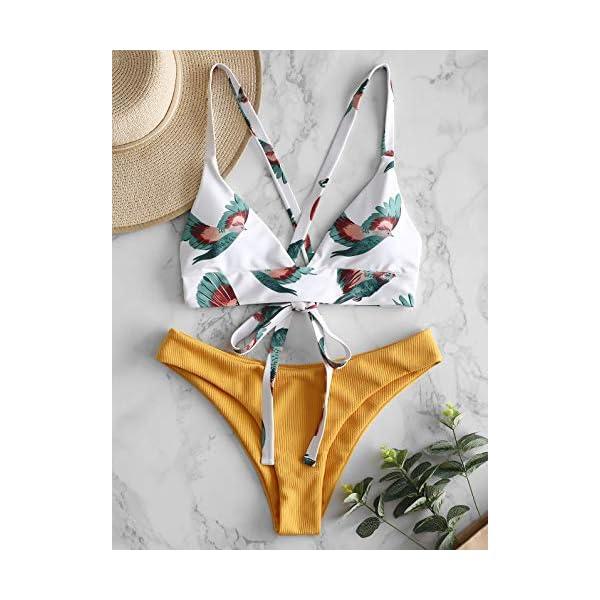ZAFUL Costume da Bagno da Donna in Due Pezzi, Bikini a Taglio Alto con Coppe a Triangolo con Stampa a Contrasto… 5 spesavip