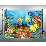 VVM 7x5ft Underwater World Backdrop Tropical Fish Colored Ocean Photography Backdrop Studio Props LXVV285