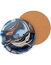 NASEMA KITCHEN Ceramic Stone Trivet for Hot Pots and Pans, 2-Piece Heat Resistant Trivet with Beautiful Gold Marble Lines and Protective Cork Base, (7.8-Inches, Blue Swirl)