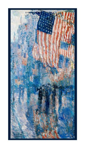 Flags Avenue in the Rain by Childe Hassam Counted Cross Stitch Pattern