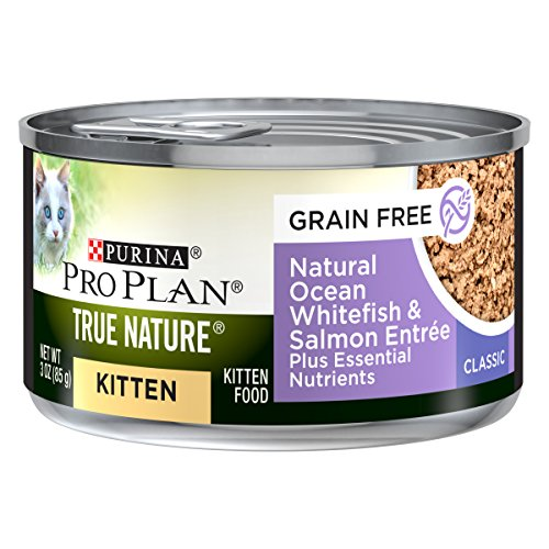 Purina Pro Plan Grain Free, Natural Pate Wet Kitten Food, TRUE NATURE Ocean Whitefish & Salmon - (24) 3 oz. Pull-Top Cans