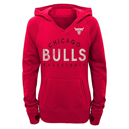NBA Junior Girls Bulls Victory Pullover Hoodie, S(3-5), Red