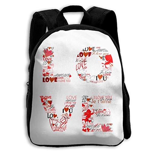 (DKFDS Backpacks School Season Kids Backpack Travel Gear Daypack,Child Love Language Shoulder Bag)