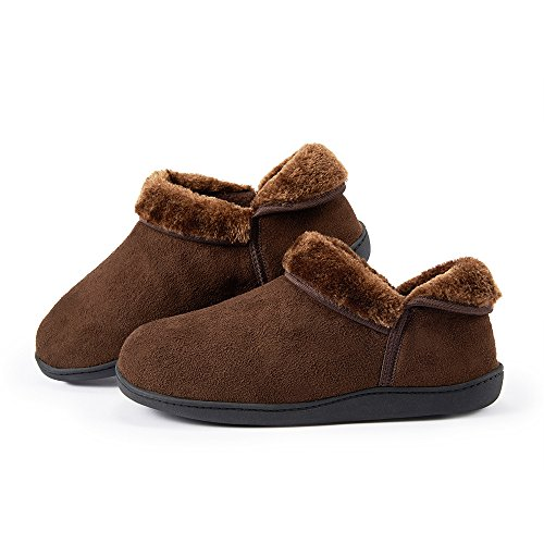 HomyWolf Unisex Cotton House Slippers, Warm Soft Slipper for Indoor/Outdoor, Size US 11-12, Deep Brown