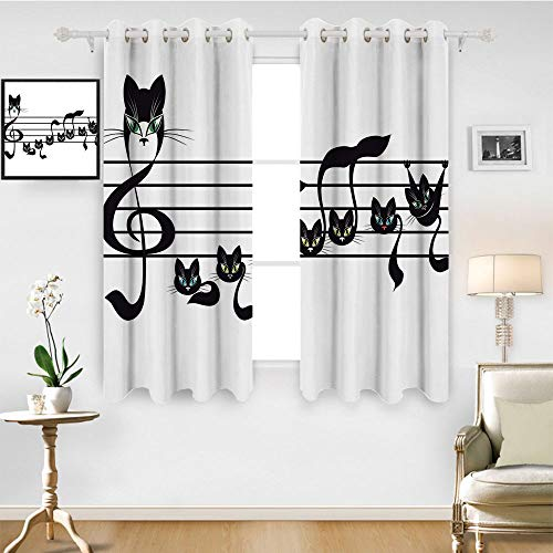 SATVSHOP Thermal Insulating Blackout Curtain- 96W x 72L Inch-Patterned Drape for Glass Door.Music Not Kittens Cat Artwork Notation Tune Children Halloween Style Pattern Black Green Blue.