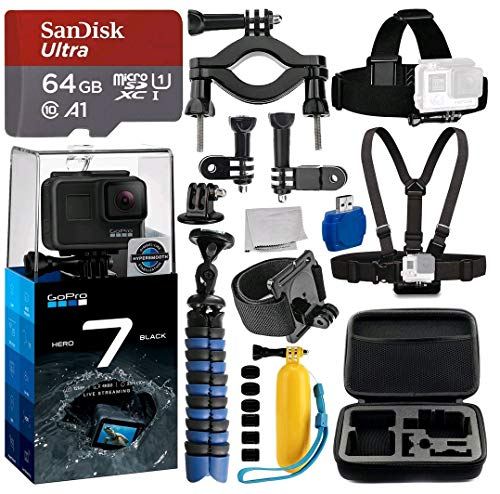 GoPro HERO7 Black Deluxe Bundle Includes: Sandisk Ultra 64GB Micro SDXC UHS-I Card with Adapter - Wrist Strap - Head Strap - Chest Strap - GoPro Case and More