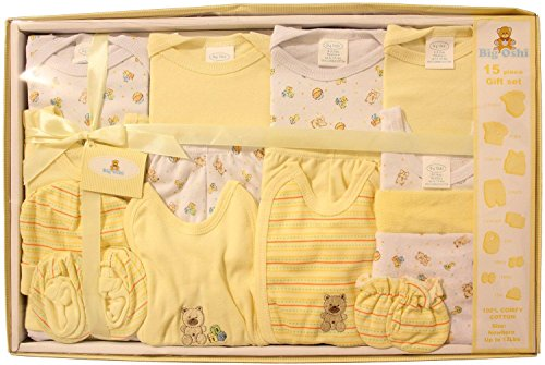 (Big Oshi 15 Piece Layette Newborn Baby Gift Set - Great Baby Shower or Registry Gift Box to Welcome a New Arrival - All Essentials Including: Bodysuits, Shirts, Pants, Bibs, and More, Yellow)