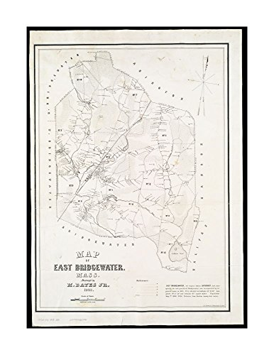 Bridgewater Umbrella (1848 Wall Map East Bridgewater of East Bridgewater, Mass Available also through Norman B.Leventhal Map|Ready to Frame|Historic Antique Vintage Reprint|Plymouth|)