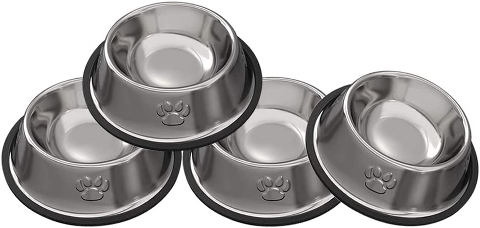 JOCHA Stainless Steel Dog Cat Bowls Cat Food Bowls with Rubber Base for Small/Medium/Large Dogs, Pets Feeder Bowl and Water Bowl Perfect Choice (4 Pack)