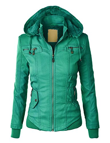 WJC858 Womens Faux Leather Zip Up Bomber Jacket with Hood XS