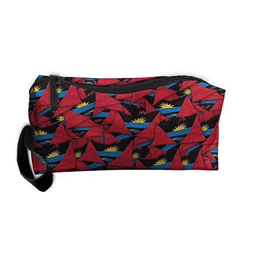 Antigua And Barbuda Flag Wave Collage Pencil Case Portable Bag Toiletry Bag Canvas Bag Travel Organizer Students Stationery Big Capacity With Zipper