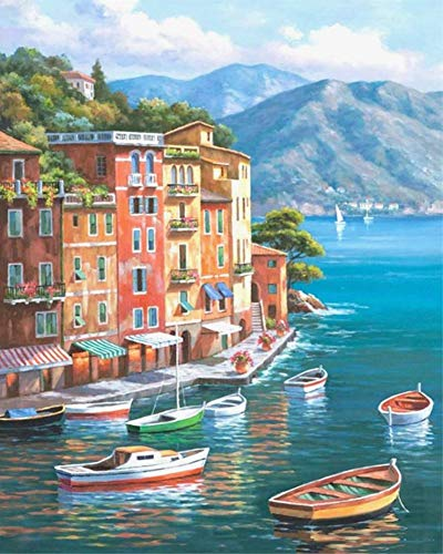ABEUTY DIY Paint by Numbers for Adults Beginner - Beautiful Town Pier & Boat Yacht Sailboat 16x20 inches Number Painting Anti Stress Toys