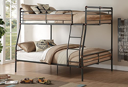 Major-Q Metal Tube Supported FullXL/Queen Bunk Bed with Ladder & Wood Designed Guard Rail (Wood Loft Ladder)