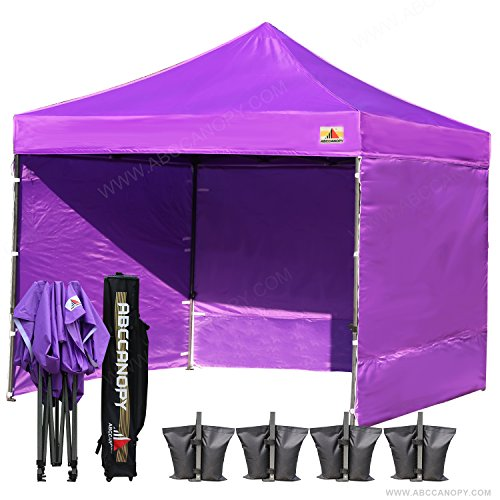 (18+ colors)AbcCanopy 8ft by 8ft Ez Pop up Canopy Tent Commercial Instant Gazebos with 4 Removable Sides and Roller Bag and 4x Weight Bag (purple)