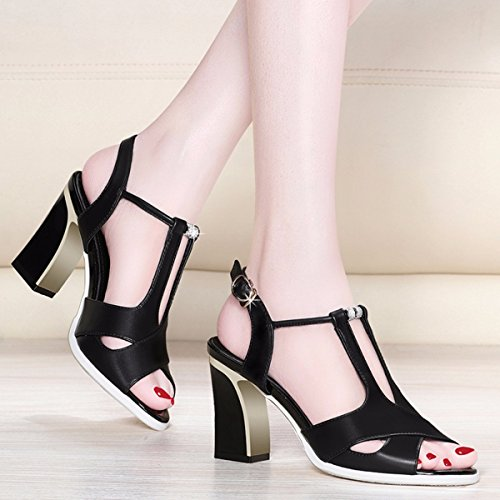 Zapatos Zapatos Sexy Zapatos JRFBA Sandalias y Coreano de Zapatos Black áspera Verano Fría HvExqAPv