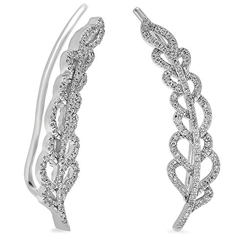 Fingalo 0.26 Carat (ctw) 14K White Gold White Diamond Ladies Leaves Ear Cuff Crawler Climber Earrings 1/4 CT ()
