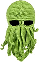 Vbiger Beard Hat Beanie Hat Knit Hat Winter Warm Octopus Hat Windproof Funny for Men & Women