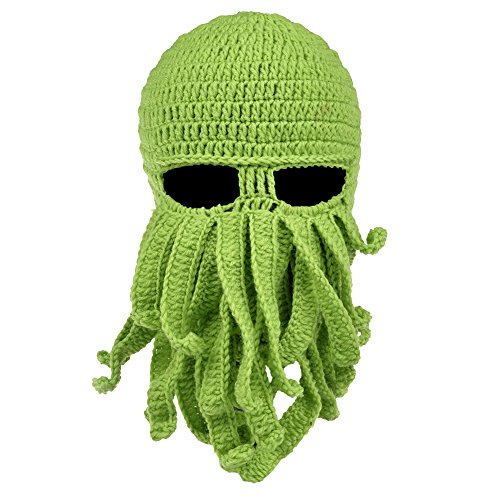 Vbiger Beard Hat Beanie Hat Knit Hat Winter Warm Octopus Hat Windproof Funny for Men & Women One Size Green