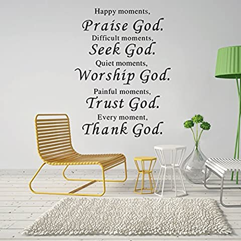 Lankey Wall Vinyl Decal Quote Sign Christian Praise God DIY Art Sticker Home Wall Decor (Bathroom Wall Decal Quotes)