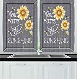 Cafe Kitchen Decor Ambesonne Kitchen Decor Collection, You Are My Sunshine Quote Bees and Sunflowers Vintage Home and Cafe Designer Art Image, Window Treatments for Kitchen Curtains 2 Panels, 55X39 Inches, Grey Yellow