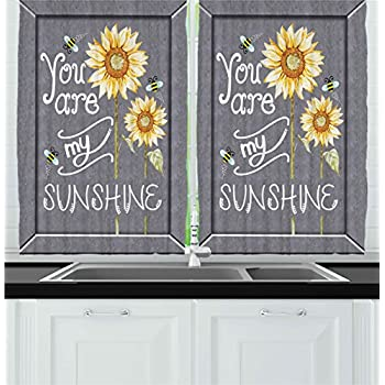 Ambesonne Kitchen Decor Collection, You Are My Sunshine Quote Bees And  Sunflowers Vintage Home And