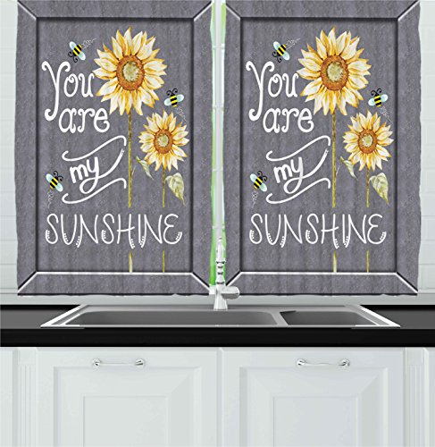 Ambesonne Kitchen Decor Collection, You Are My Sunshine Quote Bees and Sunflowers Vintage Home and Cafe Designer Art Image, Window Treatments for Kitchen Curtains 2 Panels, 55X39 Inches, Grey Yellow