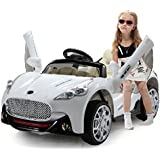Duplay 12v Maserati Style Kids Electric Ride On Car with TWIN MOTOR UPGRADE and 4 way parental remote control (White)