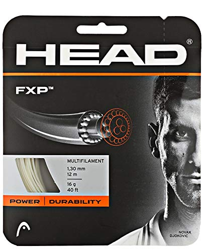 (HEAD FXP Natural Colored Multifilament - 17 Gauge - Tennis Racquet String Sets 8-Pack (8 Sets Per Order) - Best for Control and Comfort)