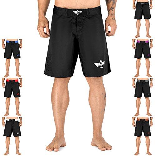 Elite Sports NEW ITEM Black Jack Series Fight Shorts - UFC, MMA, BJJ, Muay Thai, WOD, No-Gi, Kickboxing, Boxing Shorts (Large, Premium Black)