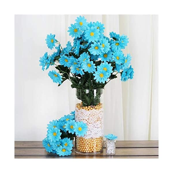 Efavormart 88 Artificial Gerbera Daisy Flowers for DIY Wedding Bouquets Centerpieces Party Home Decorations Wholesale – Turquoise
