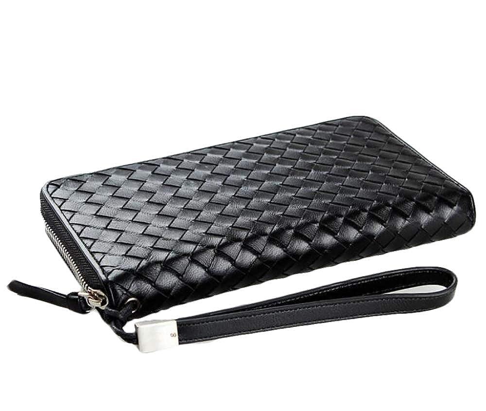 Mens handbag,woven,leather wallet,zipper wallet