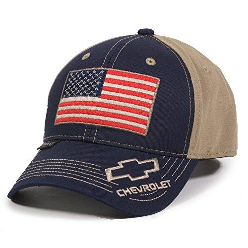 (Outdoor Cap Unisex-Adult American Flag Truck Cap, Navy/Khaki, Adult )