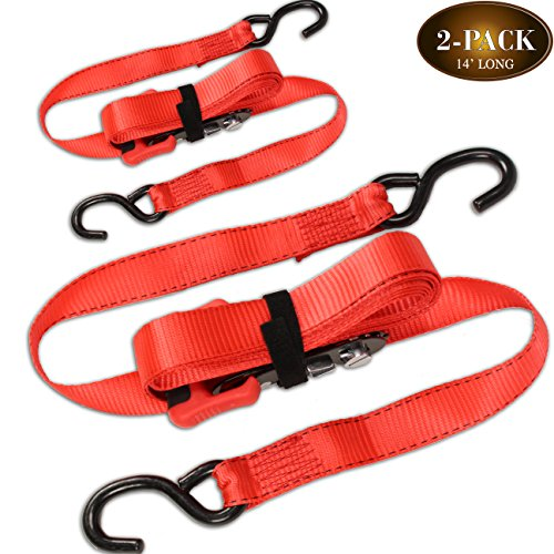 "(2 Pack) Sliding Ratchet Strap with Vinyl Coated S Hook (1.25""x 14' long), Adjustable Ratcheting Tie - Rachet Lock"