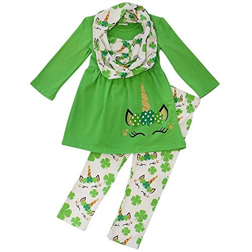 Kids Valentines Outfits (So Sydney Toddler Girls 3 Pc Valentine's or St. Patrick's Day Holiday Outfit & Infinity Scarf (3T (S), Shamrock)