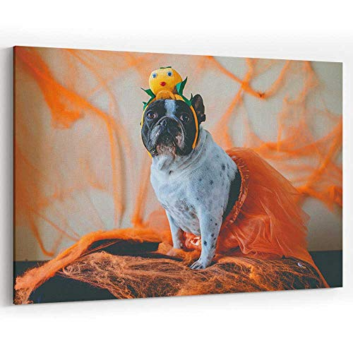 Dog with Halloween Costume Canvas Art Wall Dector