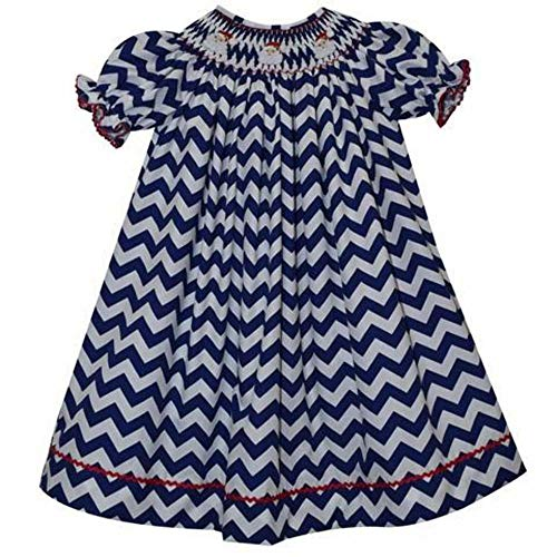 (Silly Goose Santa Face Smocked Blue Chevron Short Sleeve Bishop)