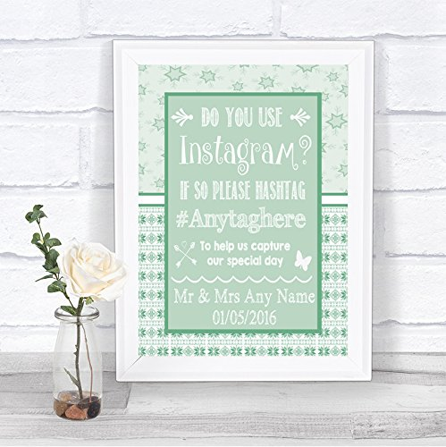 Green Christmas Photo Cards (Winter Green Christmas Photos On Instagram Personalized Wedding Sign)