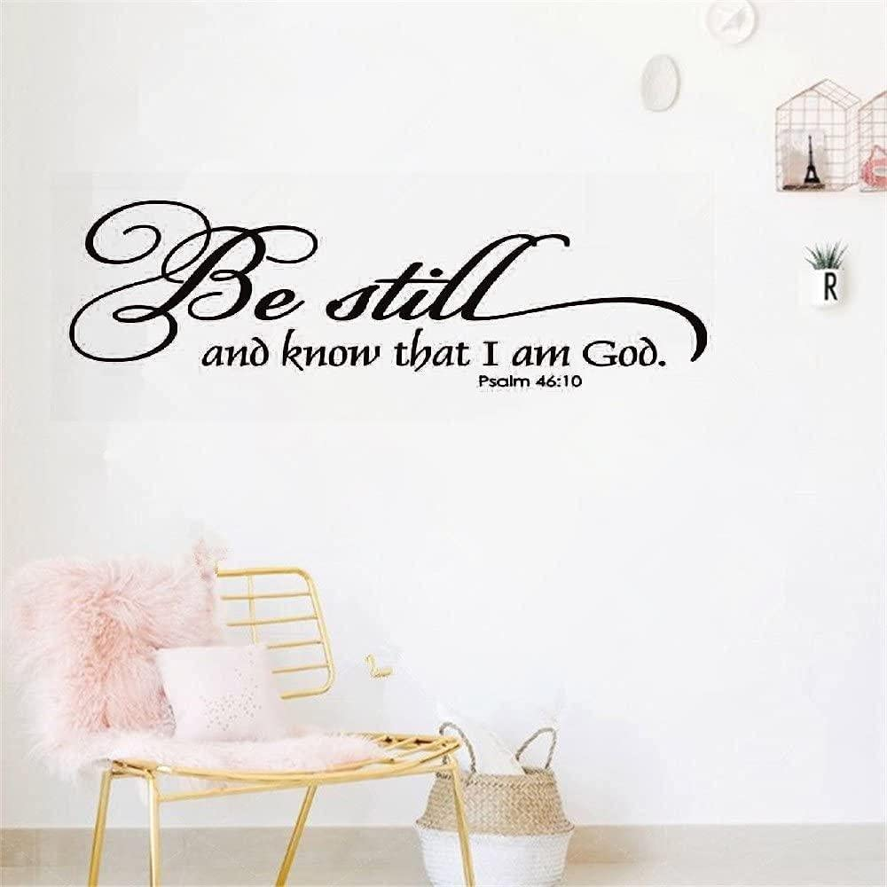 Decor Saying Wall Decal Sticker Art Mural Home Decor Quote Be Still and Know That I Am God Religious Christian Bible Verse-9.122.5inches