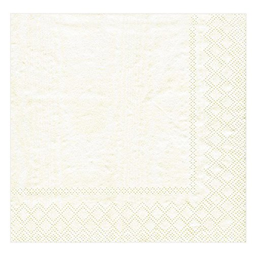 Entertaining with Caspari Moire Cocktail Napkins (20 Pack), Ivory - Moire Luncheon Napkin